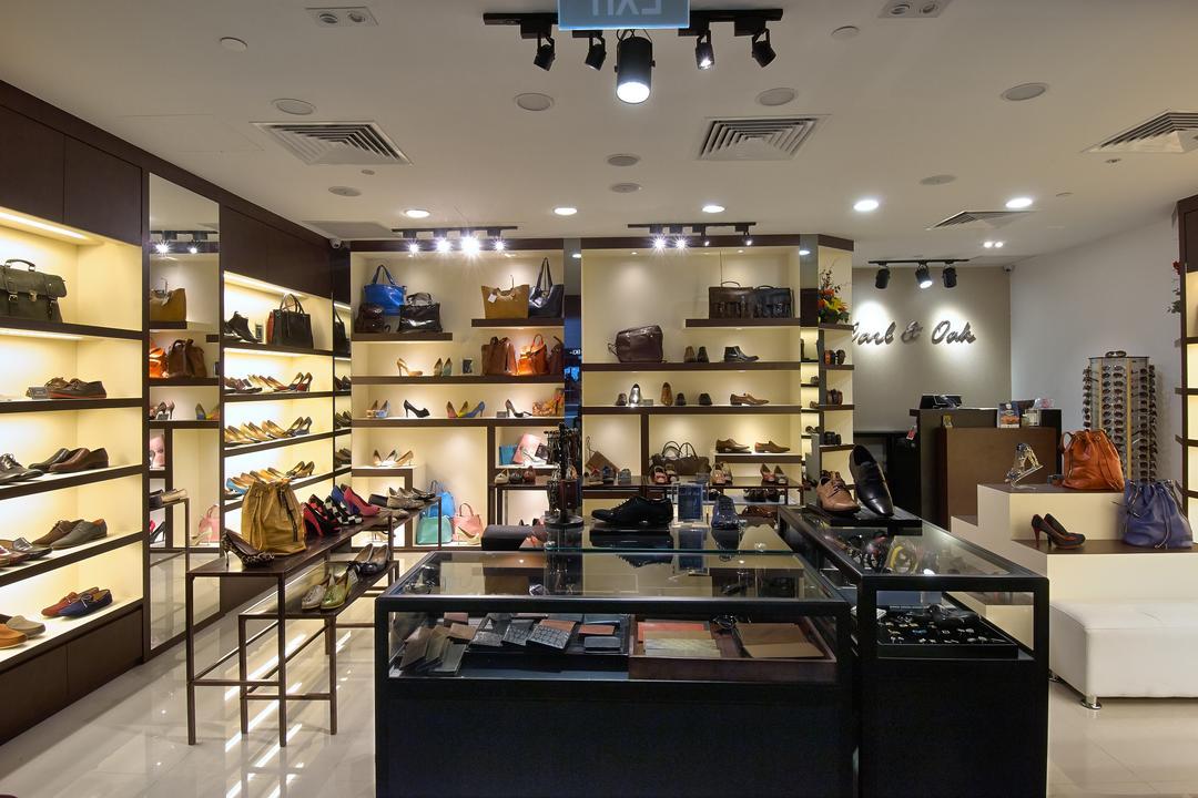 Carl & OAK @ One Raffles Place, Aart Boxx Interior, Modern, Commercial, Studio Ceiling Light, Ceiling Spotlight, Open Shelves, Shoe Shop, Shop