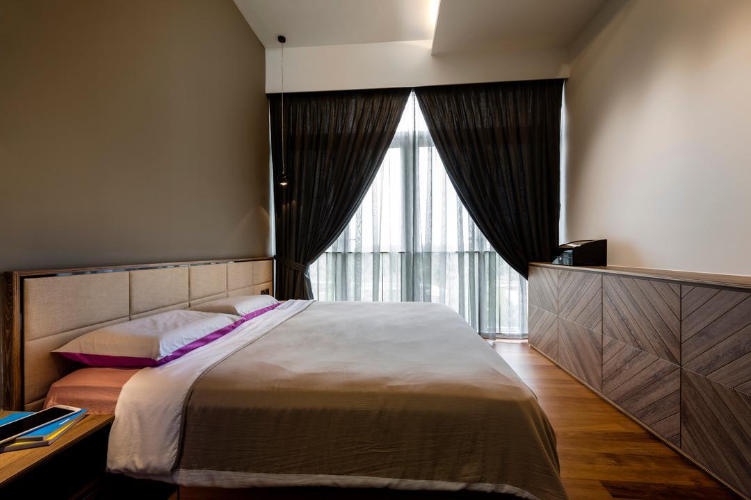 Greenwich, Prozfile Design, Modern, Bedroom, Condo, Woodgrain Laminate, Console, Herringbone, Concealed Lighting, Bed, Furniture, Indoors, Room