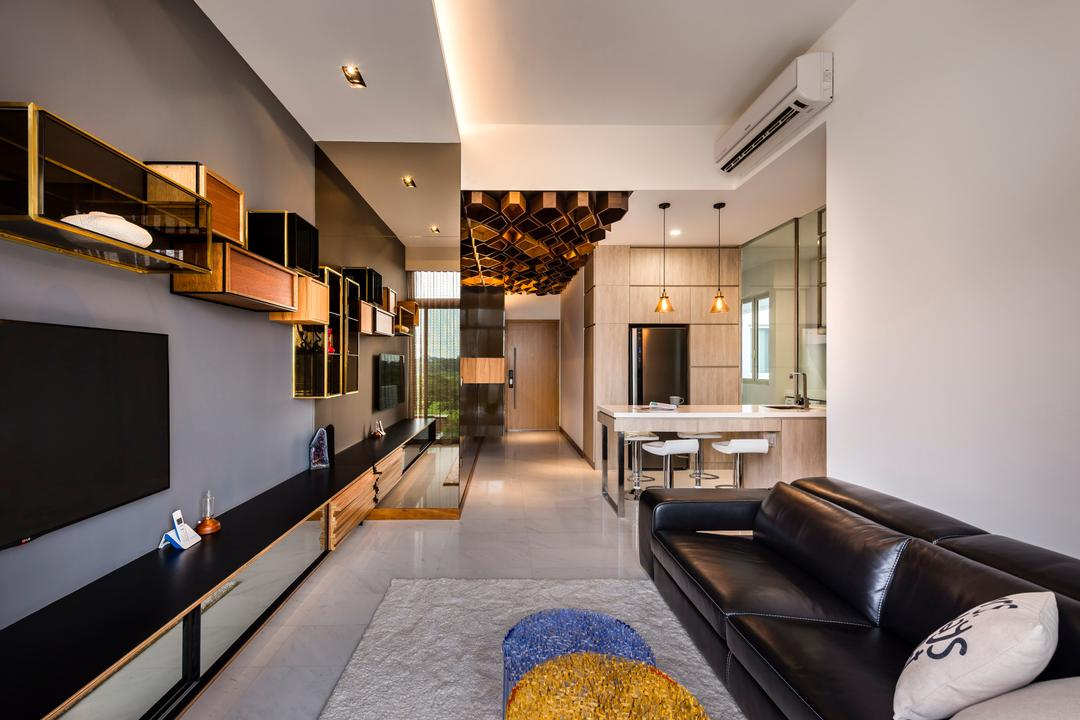 Greenwich, Prozfile Design, Modern, Living Room, Condo, Cubby Hole, Console, Tv Console, Carpet, Rug, Couch, Furniture, Indoors, Interior Design, Chair, Reception