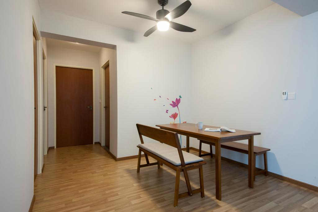 Scandinavian, HDB, Dining Room, Keat Hong Quad (Block 815B), Interior Designer, Starry Homestead, Ceiling Fan, Corridor, Wooden Dining Table, Wooden Dining Chair, Wooden Flooring, Pale Blue Wall, Bench, Light Fixture, Dining Table, Furniture, Table, Chair, Flooring
