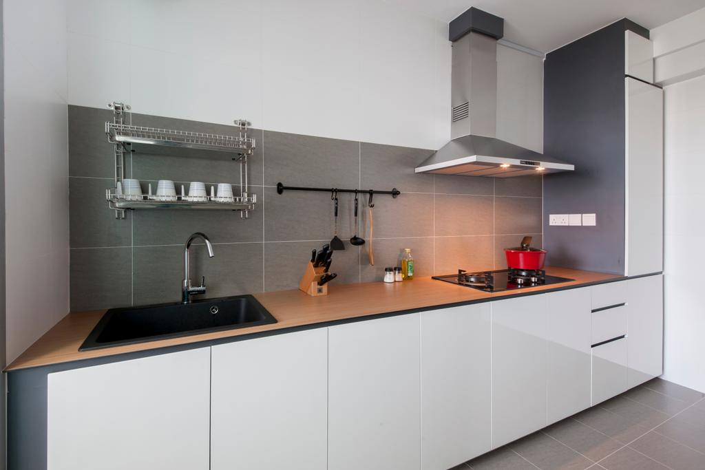 Scandinavian, HDB, Kitchen, Keat Hong Quad (Block 815B), Interior Designer, Starry Homestead, Indoors, Interior Design, Room, Door, Sliding Door