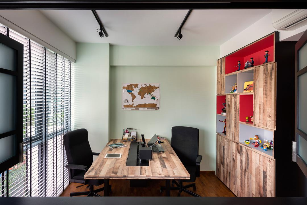 Esparina Residences, Prozfile Design, Industrial, Study, Condo, Venetain Blinds, Blinds, Laminate, Wood Laminate, Chair, Furniture, Dining Table, Table, Dining Room, Indoors, Interior Design, Room