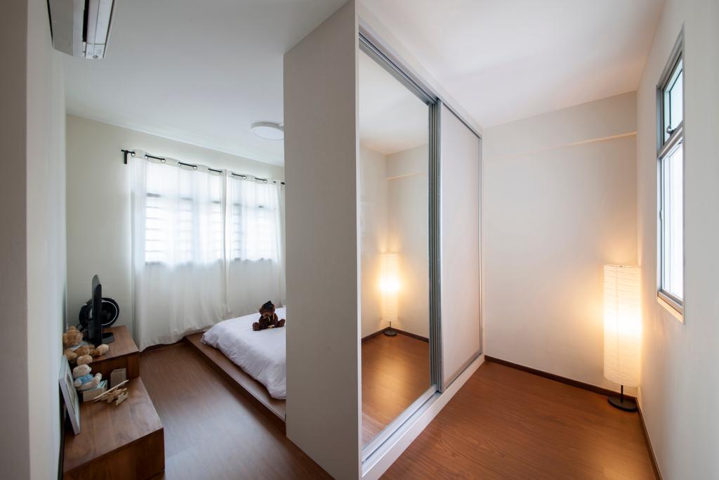 Scandinavian, HDB, Bedroom, Keat Hong Quad (Block 815B), Interior Designer, Starry Homestead, Built In Sliding Wardrobe, Paper Floor Lamp, Wooden Flooring, Wooden Platform, Sling Curtain