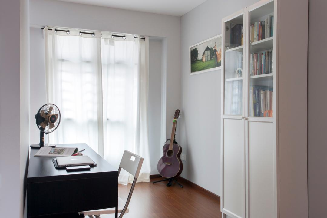 Keat Hong Quad (Block 815B), Starry Homestead, Scandinavian, Study, HDB, Study Room, White Cabinet, Study Table, Plastic Chair, Sling Curtain, Bright, Wooden Flooring, Wooden Platform, Lamp