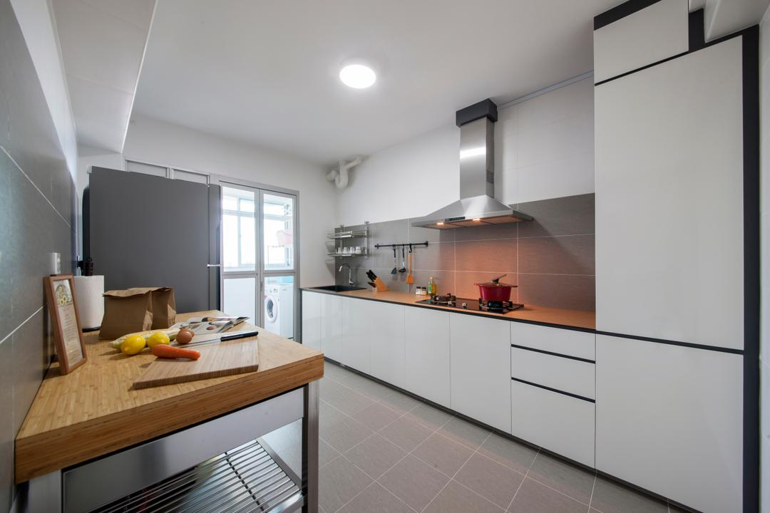 Keat Hong Quad (Block 815B), Starry Homestead, Scandinavian, Kitchen, HDB, Kitchen Hood, White Wall, Sliding Door, , Furniture, Sideboard, Plywood, Wood, Door
