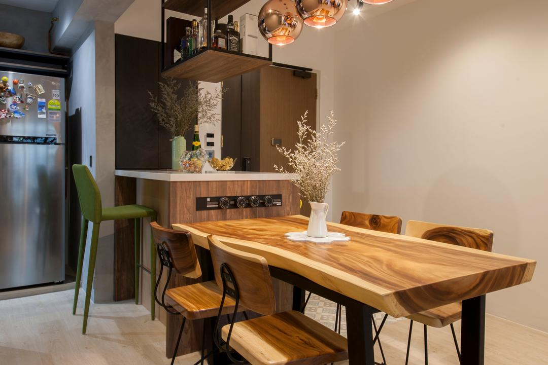 Punggol Drive (Block 676D), Hue Concept Interior Design, Eclectic, Dining Room, HDB, Flora, Jar, Plant, Potted Plant, Pottery, Vase, Indoors, Interior Design, Room, Dining Table, Furniture, Table, Chair, Kiosk