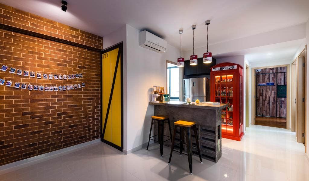 Industrial, Condo, Dining Room, Esparina Residences, Interior Designer, Prozfile Design, Brick Wall, Stools, Bar Stool, Dining Table, Furniture, Table, Indoors, Interior Design, Room