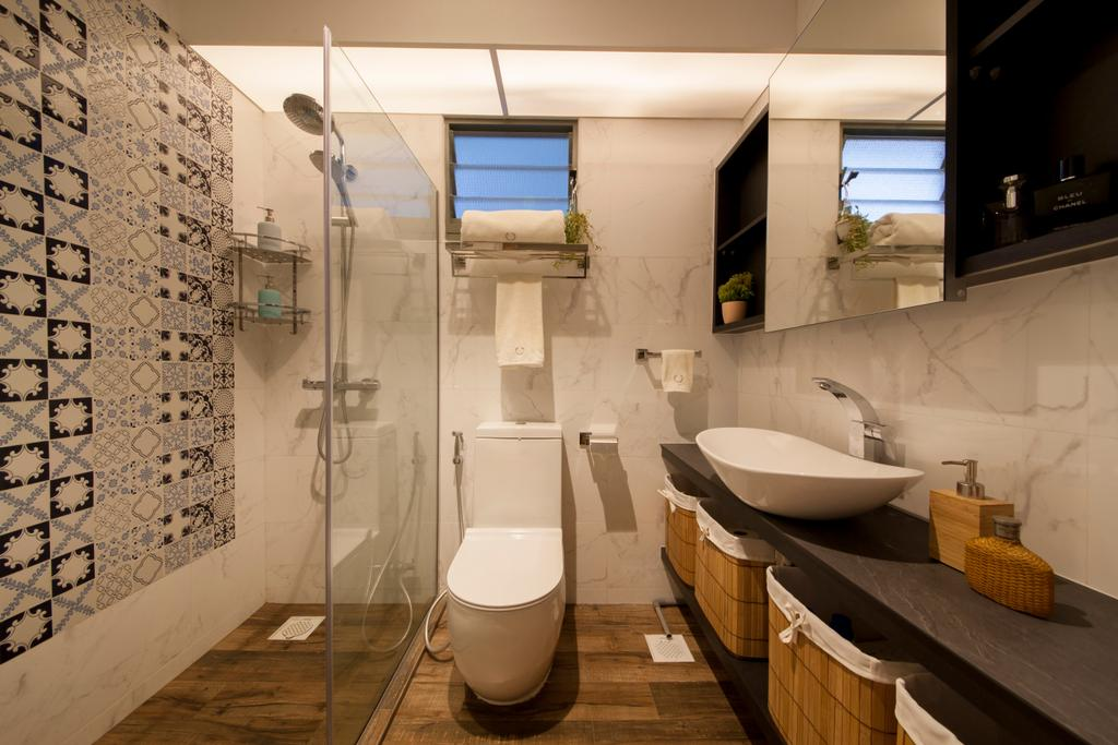 Eclectic, HDB, Bathroom, Punggol Drive (Block 676D), Interior Designer, Hue Concept Interior Design, Vessel Sink, Contemporary Bathroom, Wall Mirror Cabinet, Scandinavian Tiles, Laundry Basket, Marble Tiles, Toilet, Indoors, Interior Design, Room