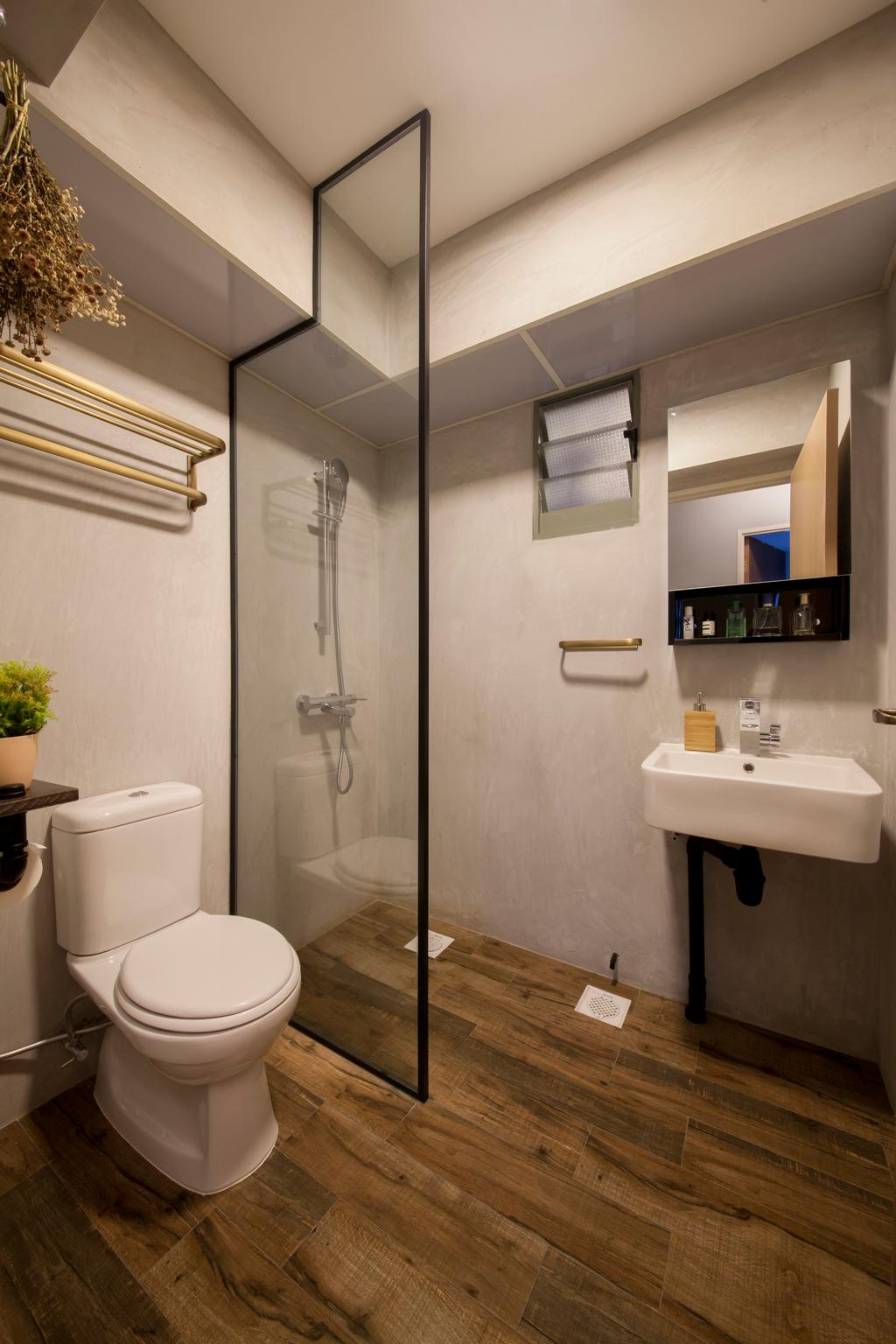 Eclectic, HDB, Bathroom, Punggol Drive (Block 676D), Interior Designer, Hue Concept Interior Design, Wall Sink, Shower Glass Screen, Mirror Cabinet, Toilet, Sink, Shelf, Indoors, Interior Design, Room