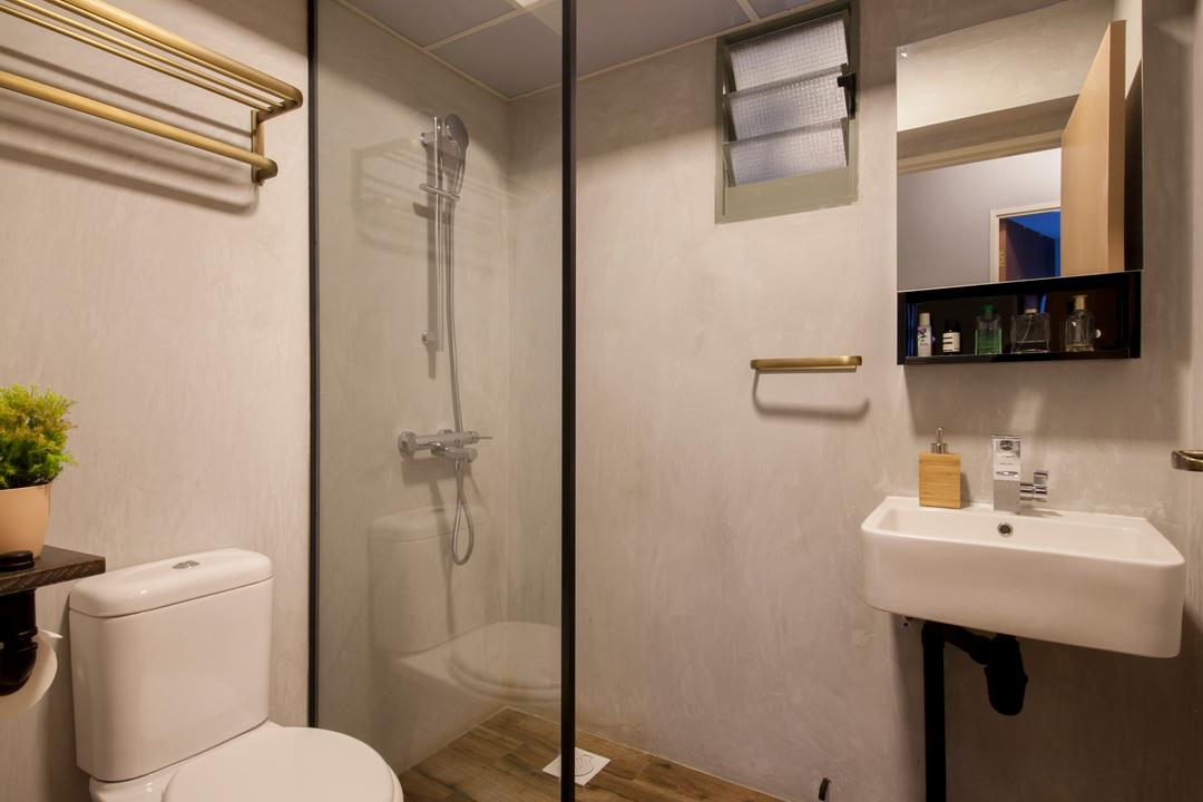 Punggol Drive (Block 676D), Hue Concept Interior Design, Eclectic, Bathroom, HDB, Wall Sink, Shower Glass Screen, Mirror Cabinet, Toilet, Sink, Shelf, Indoors, Interior Design, Room