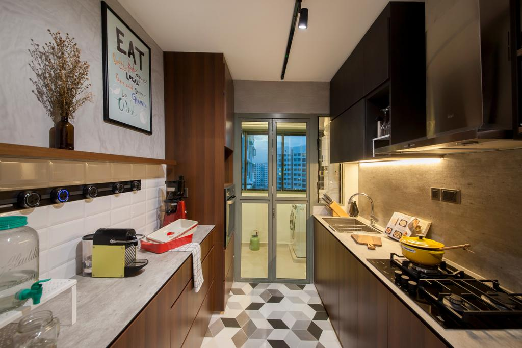 Eclectic, HDB, Kitchen, Punggol Drive (Block 676D), Interior Designer, Hue Concept Interior Design, Stove Countertop, Geometric Floor Tiles, Track Light, Subway Tiles, Cement Wall, Building, Housing, Indoors