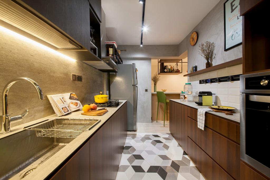 Eclectic, HDB, Kitchen, Punggol Drive (Block 676D), Interior Designer, Hue Concept Interior Design, Flooring, Indoors, Interior Design, Room
