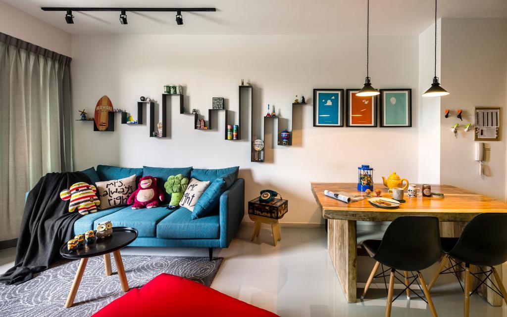Industrial, Condo, Living Room, Esparina Residences, Interior Designer, Prozfile Design, Blue Sofa, Track Lighting, Track Light, Hanging Light, Chair, Furniture, Couch