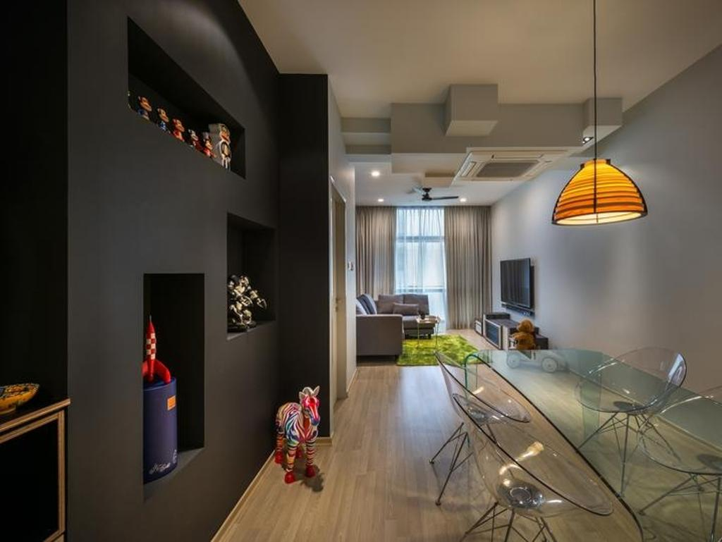 Scandinavian, Condo, Living Room, Riverside, Interior Designer, Prozfile Design, Black Partition, Pendant Lamp, Toy Storage, Toy Shelf, Display Unit, Human, People, Person, HDB, Building, Housing, Indoors, Loft, Lamp, Lampshade