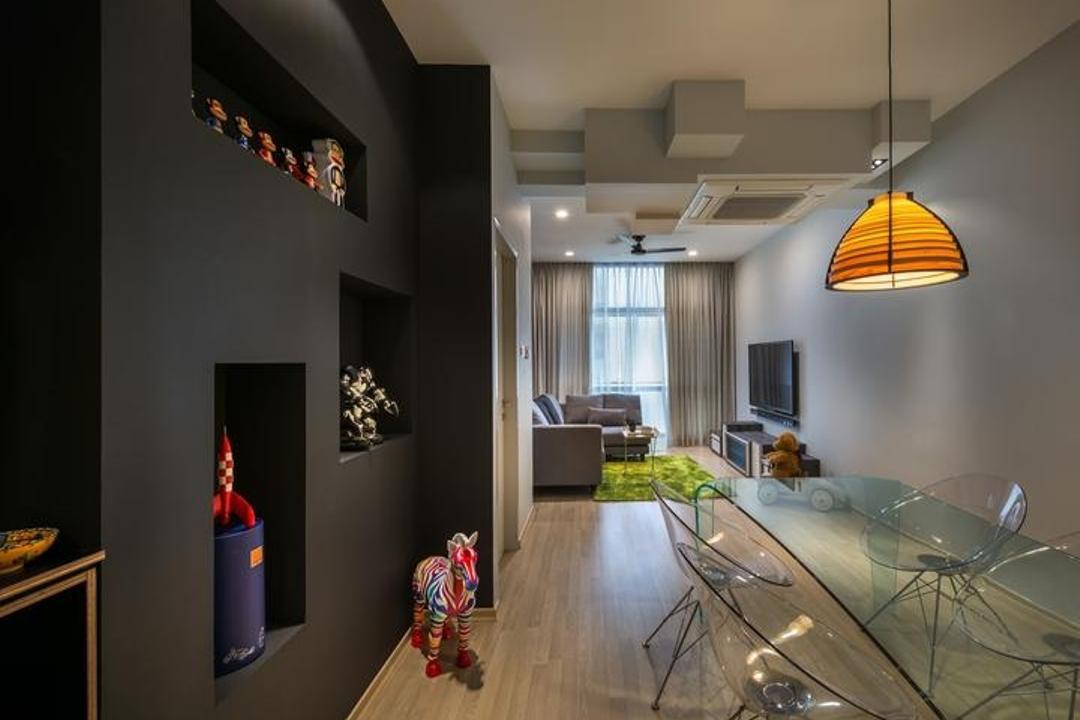 Riverside, Prozfile Design, Scandinavian, Living Room, Condo, Black Partition, Pendant Lamp, Toy Storage, Toy Shelf, Display Unit, Human, People, Person, HDB, Building, Housing, Indoors, Loft, Lamp, Lampshade