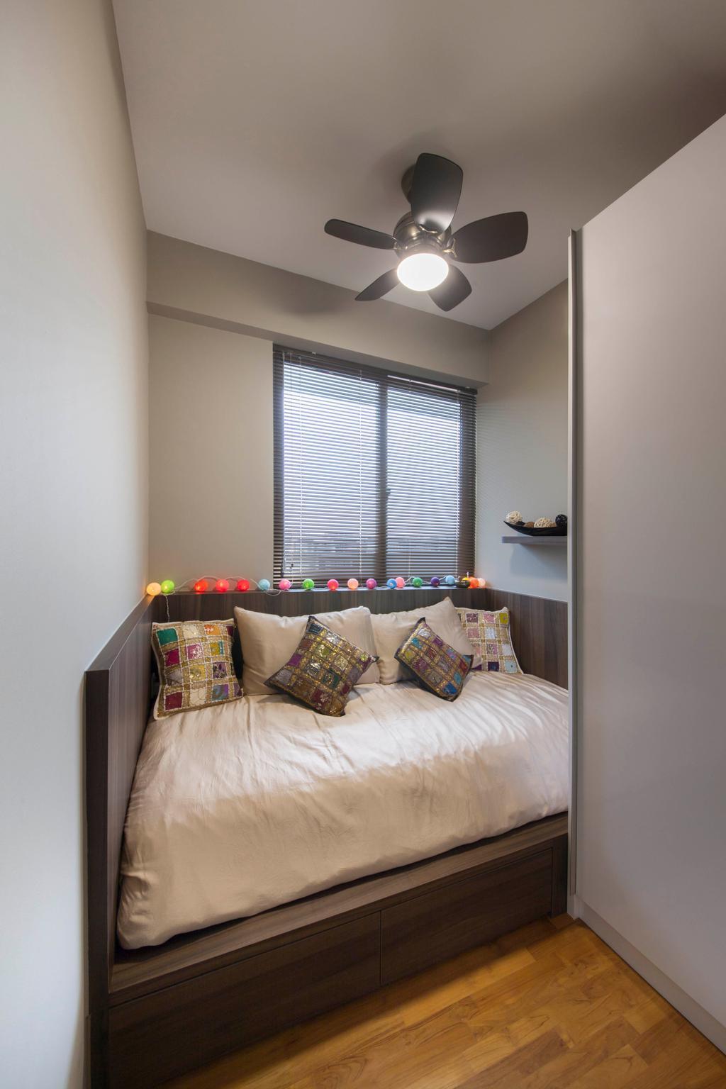 Contemporary, Condo, Bedroom, Cambio Suites, Interior Designer, The Orange Cube, Comfy Bed, Mini Ceiling Fan, Neutral Grey Wall, Wardrobe, Indoors, Interior Design, Room