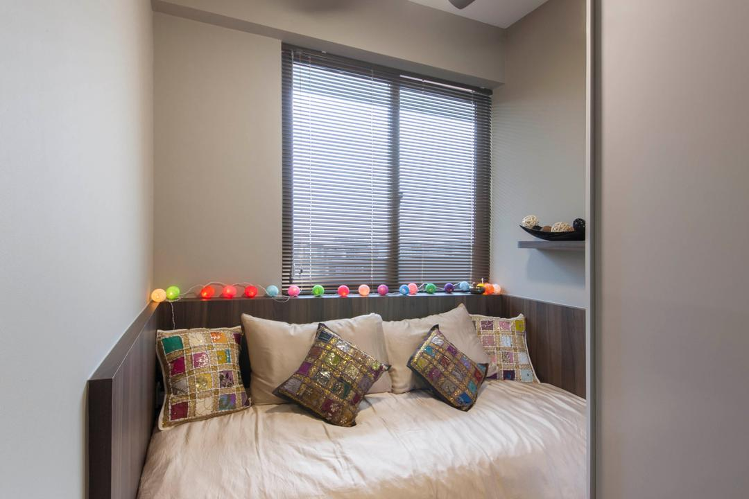 Cambio Suites, The Orange Cube, Contemporary, Bedroom, Condo, Comfy Bed, Mini Ceiling Fan, Neutral Grey Wall, Wardrobe, Indoors, Interior Design, Room