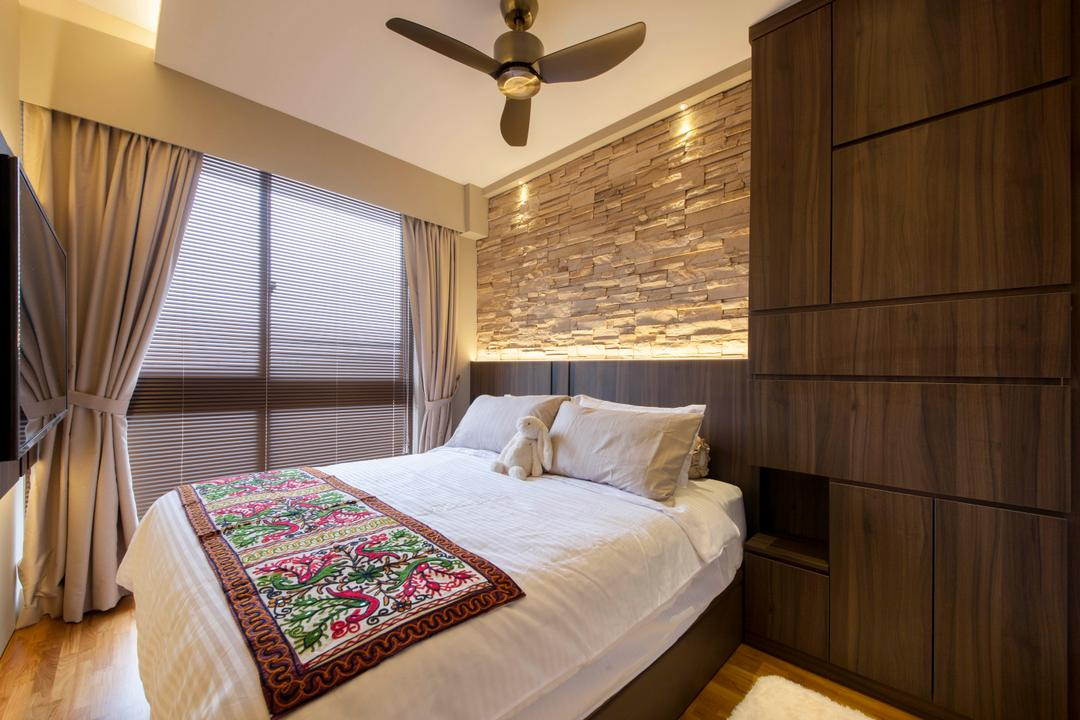 Cambio Suites, The Orange Cube, Contemporary, Bedroom, Condo, Contemporary Bedroom, Cove Lighting, Downlights, Built In Wardrobe, Bed Feature Wall, Ceiling Fan, False Ceiling, Wooden Flooring, Light Fixture, Indoors, Interior Design, Room, Bed, Furniture