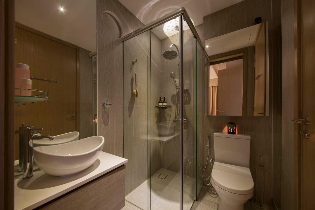 Cambio Suites, The Orange Cube, Contemporary, Bathroom, Condo, Modern Contemporary Bathroom, Vessel Sink, Faucet, Sink Countertop, Shower Screen, Downlights, Shower Head, Indoors, Interior Design, Room, Toilet
