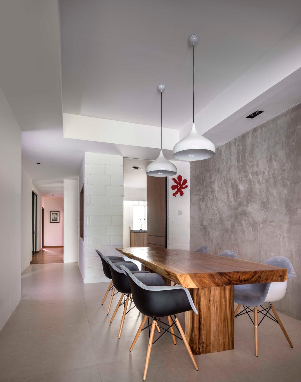 Industrial, Condo, Dining Room, Landridge, Interior Designer, Prozfile Design, Wooden Table, Wallpaper, False Ceiling, Hanging Light, Cement Screed, Tile, Solid Wood, Dining Table, Furniture, Table, Plywood, Wood, Indoors, Interior Design, Room, Bench, HDB, Building, Housing, Loft