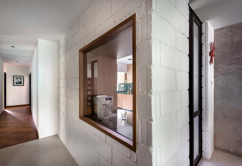 Industrial, Condo, Kitchen, Landridge, Interior Designer, Prozfile Design, Brick Wall, Kitchen Window, White Brick, Corridor