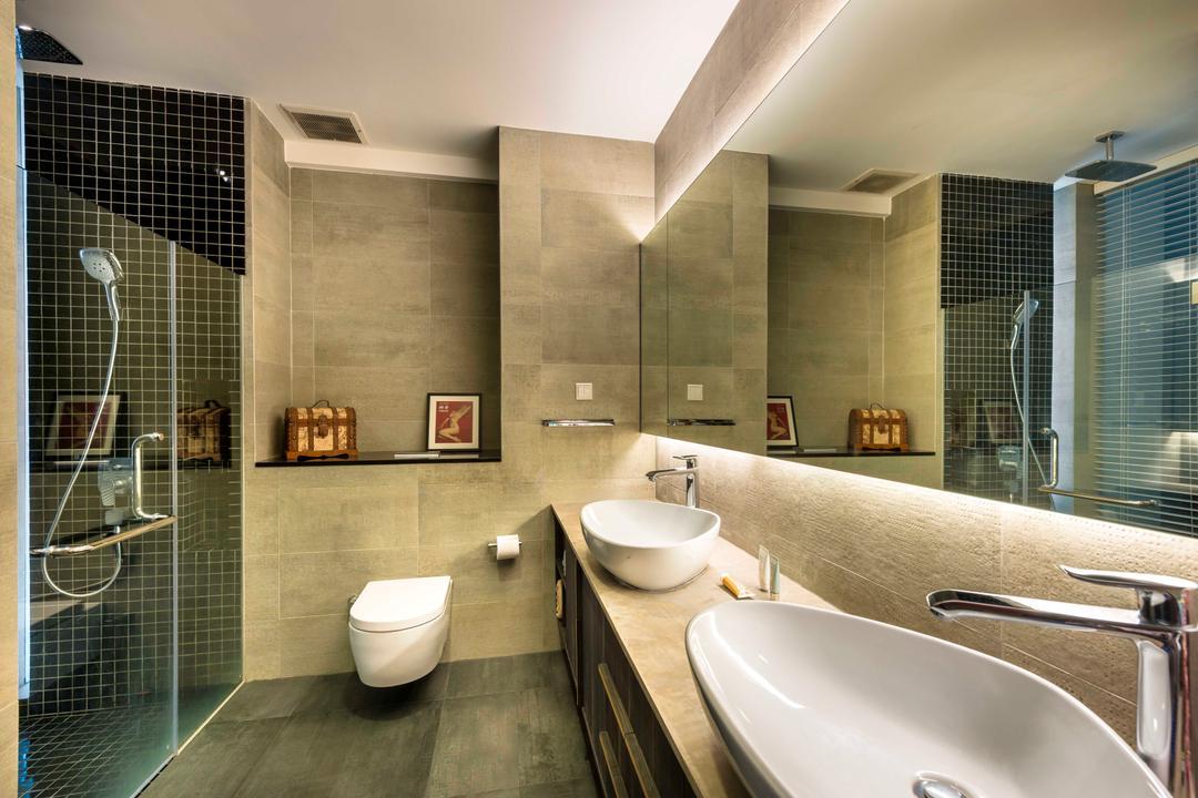 Landridge, Prozfile Design, Industrial, Bathroom, Condo, Vessel Sink, Double Sink, Mosaic Tiles, Sink, Indoors, Interior Design, Room