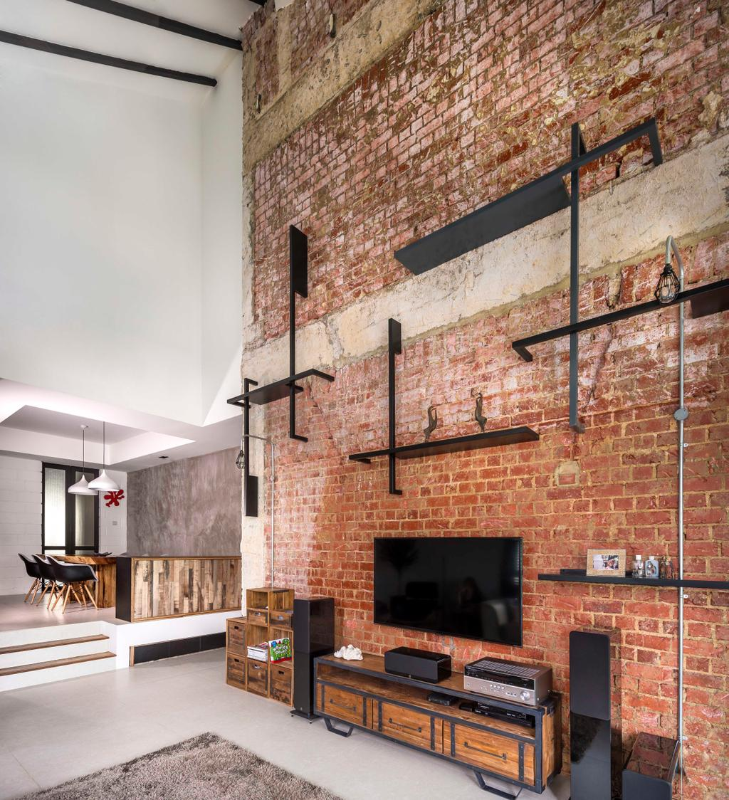 Industrial, Condo, Living Room, Landridge, Interior Designer, Prozfile Design, Brick Wall, Laminate, Wood Laminate, Display Shelf, High Ceiling, Red Brick, Pipe, Exposed, Raw, Edgy, Feature Wall, Fireplace, Hearth, Furniture
