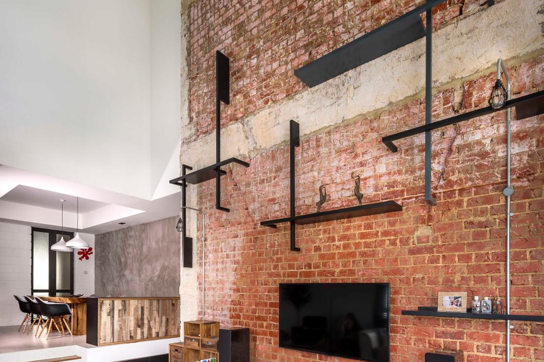 Landridge, Prozfile Design, Industrial, Living Room, Condo, Brick Wall, Laminate, Wood Laminate, Display Shelf, High Ceiling, Red Brick, Pipe, Exposed, Raw, Edgy, Feature Wall, Fireplace, Hearth, Furniture