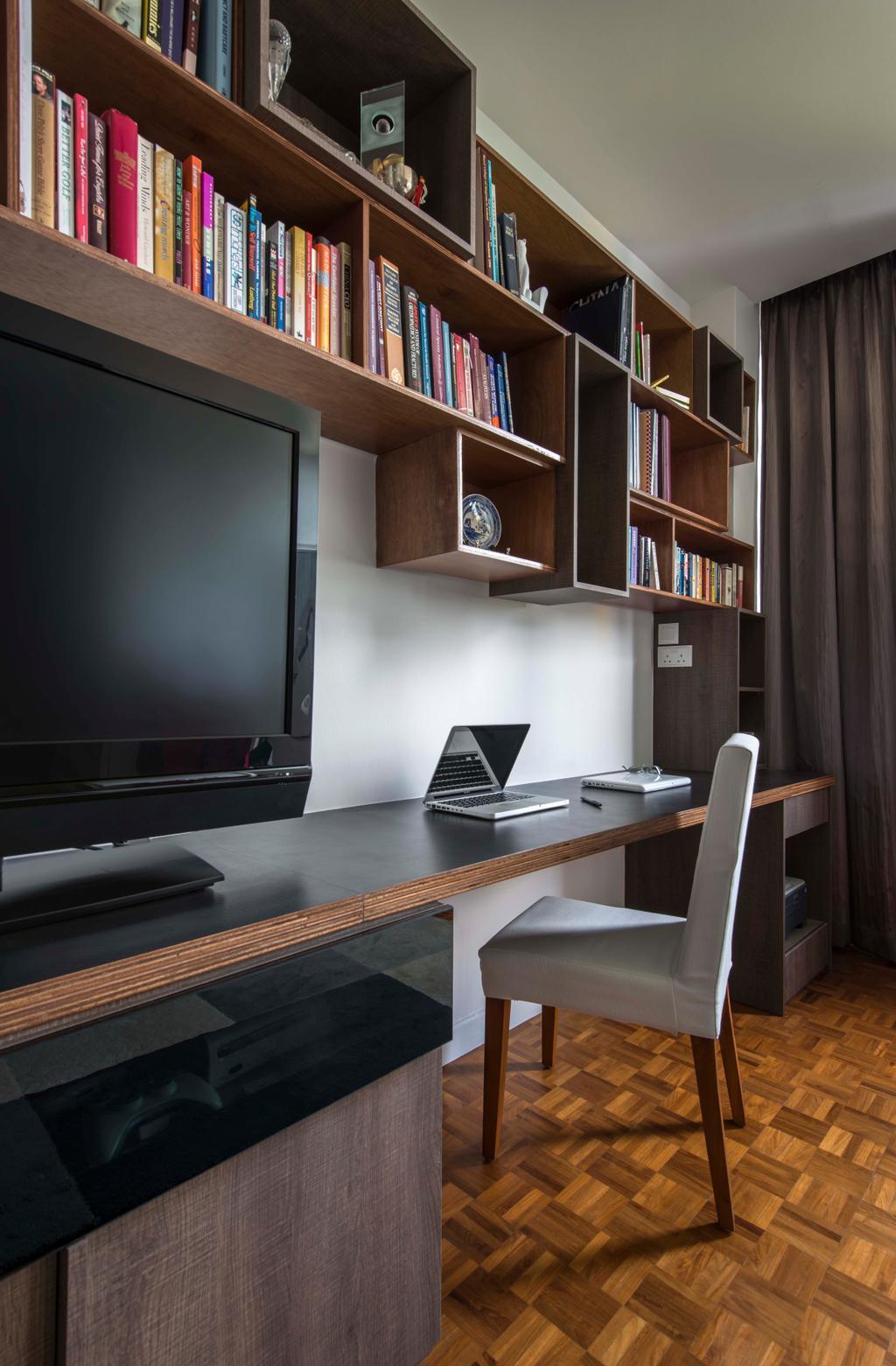 Retro, Condo, Study, Minbu Villa, Interior Designer, Prozfile Design, Bookshelf, Parquet, Sink, Electronics, Lcd Screen, Monitor, Screen, Computer, Laptop, Pc, Shelf