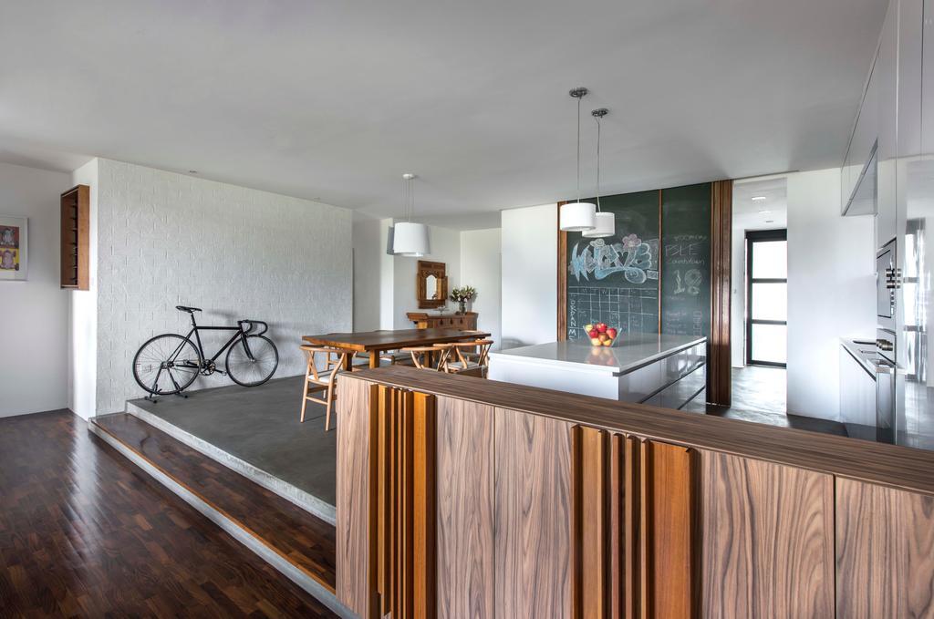 Retro, Condo, Dining Room, Minbu Villa, Interior Designer, Prozfile Design, Parquet, Chalkboard, Wooden Laminate, Hardwood, Wood, Door, Sliding Door, Bicycle, Bike, Transportation, Vehicle