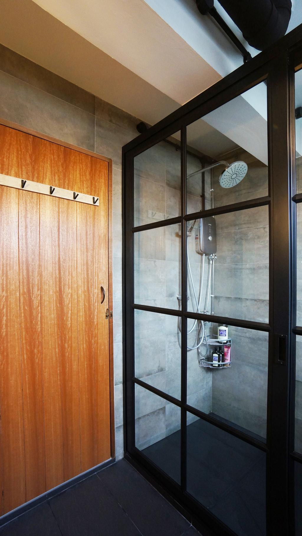 Industrial, HDB, Bathroom, Serangoon, Interior Designer, Space Atelier, Scandinavian