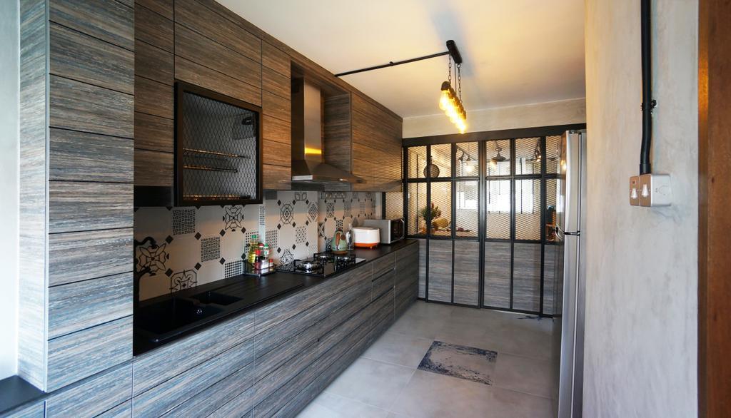 Industrial, HDB, Kitchen, Serangoon, Interior Designer, Space Atelier, Scandinavian