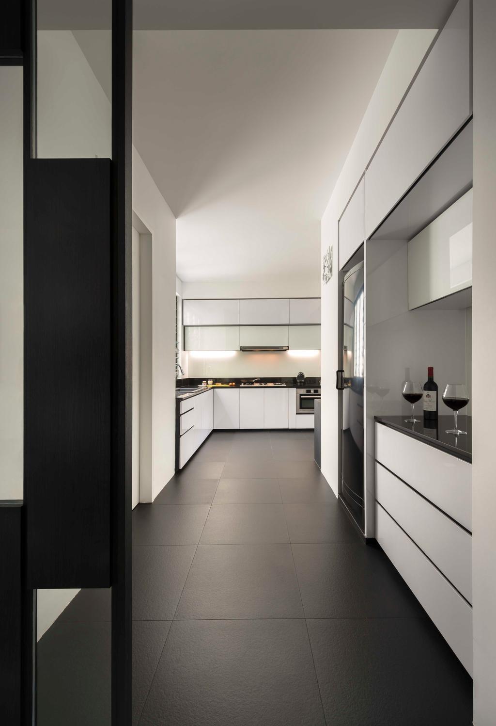 Modern, Condo, Kitchen, Flynn Park, Interior Designer, Prozfile Design, White Laminate, Kitchen Tiles, Corridor, Alcohol, Beverage, Drink, Red Wine, Wine