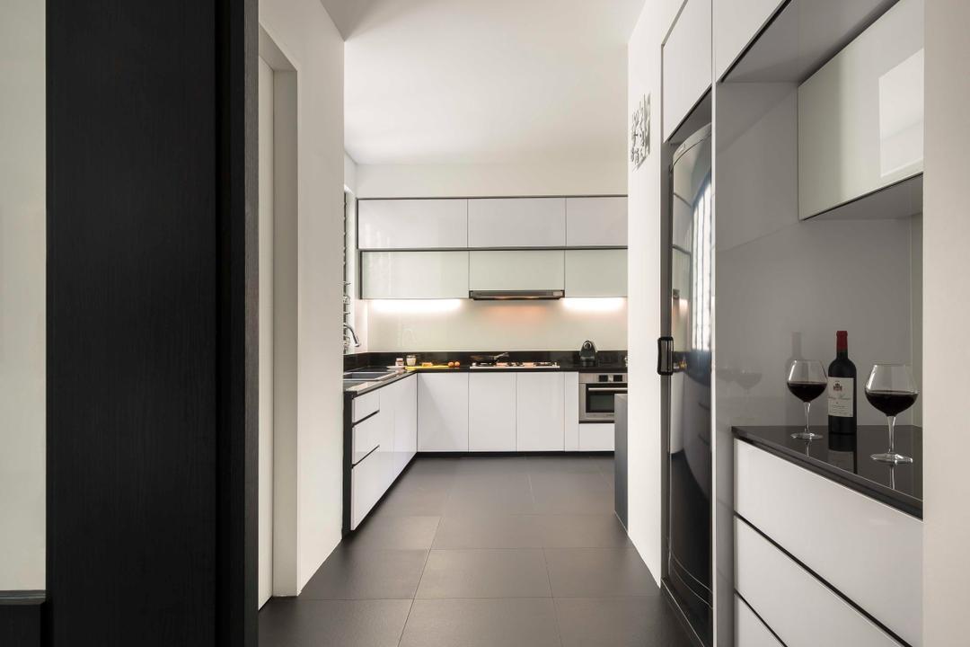 Flynn Park, Prozfile Design, Modern, Kitchen, Condo, White Laminate, Kitchen Tiles, Corridor, Alcohol, Beverage, Drink, Red Wine, Wine