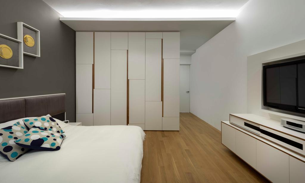 Modern, Condo, Bedroom, Flynn Park, Interior Designer, Prozfile Design, Concealed Lighting, Parquet, Laminate, Indoors, Interior Design, Room, Flooring