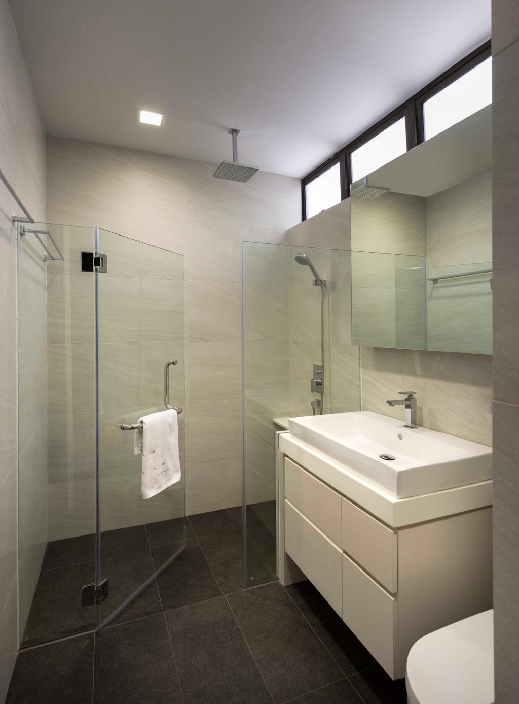 Modern, Condo, Bathroom, Flynn Park, Interior Designer, Prozfile Design, Bathroom Tiles, Laminate, Sink, Indoors, Interior Design, Room
