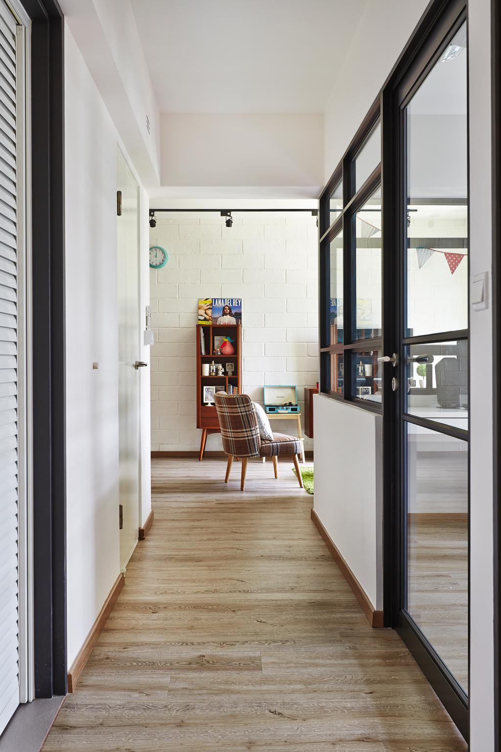 Scandinavian, HDB, Living Room, Segar Road, Interior Designer, Fuse Concept, Corridoor, Retro, Brick Wall, Half Hack Wall, Glass Partition, Black Framed Partition, Chair, Furniture
