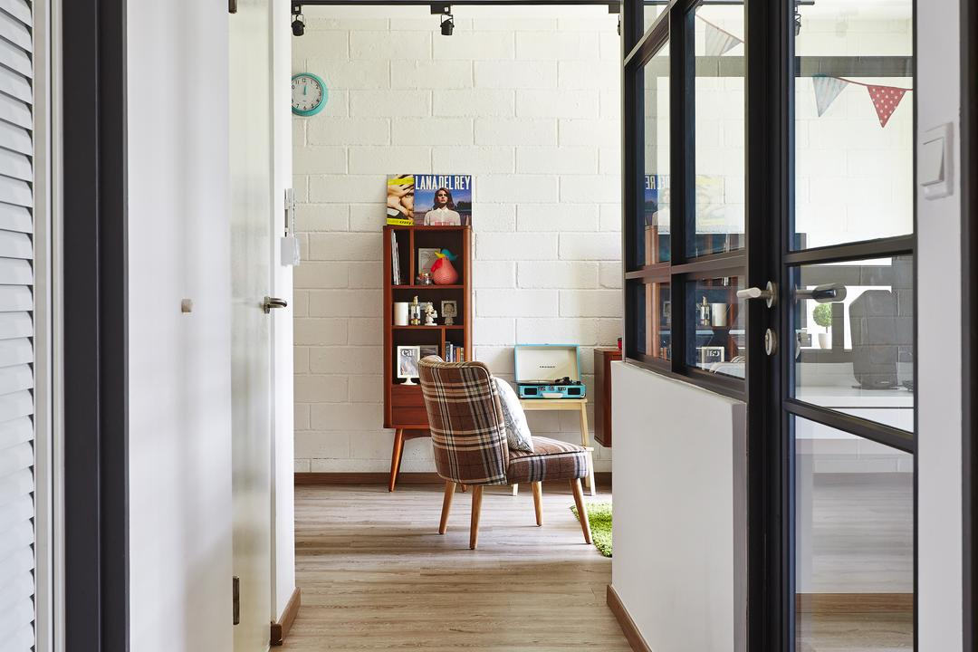 Segar Road, Fuse Concept, Scandinavian, Living Room, HDB, Corridoor, Retro, Brick Wall, Half Hack Wall, Glass Partition, Black Framed Partition, Chair, Furniture