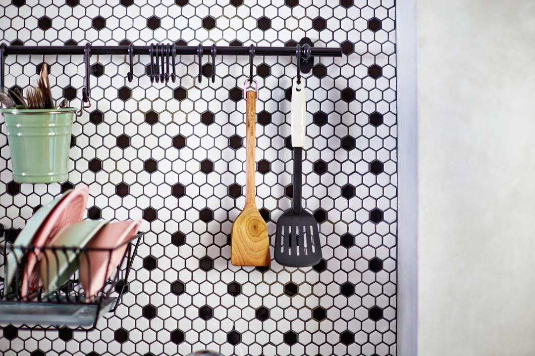 Segar Road, Fuse Concept, Scandinavian, Kitchen, HDB, Honeycomb Tiles, Wall Storage, Wall Display, Wall Rack, Tools Rack, Utensils