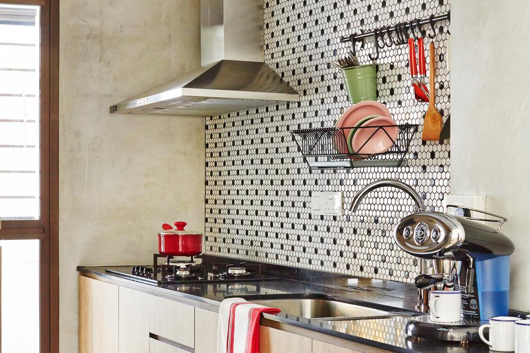 Segar Road, Fuse Concept, Scandinavian, Kitchen, HDB, Kitchen Cabinet, Kitchen Laminate, Honeycomb Tiles, Backsplash, Hood, Sink, Cabinetry