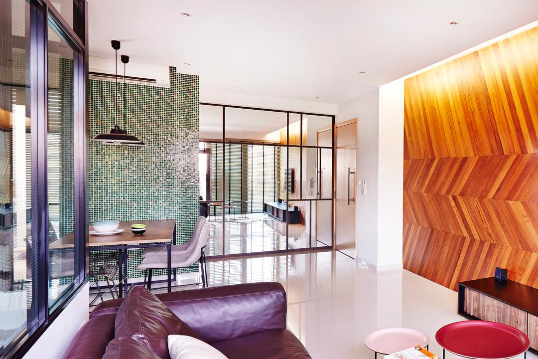 Esparina Residences, Fuse Concept, Industrial, Dining Room, Condo, Glass Partitions, Chevron Wall, Feature Wall, Patterned Wall, Wooden Wall, Glass Cabinet, Tiles, Coffee Table, HDB, Building, Housing, Indoors, Bowl