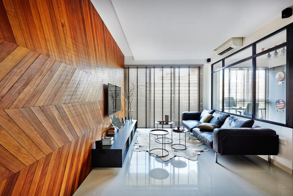 Industrial, Condo, Living Room, Esparina Residences, Interior Designer, Fuse Concept, Chevron Wooden Wall, Chevron, Wooden, Tv Console, Venetian Blinds, Tiles, Glass Partition, Glass Wall, Feature Wall, Couch, Furniture, Dining Table, Table, Indoors, Interior Design
