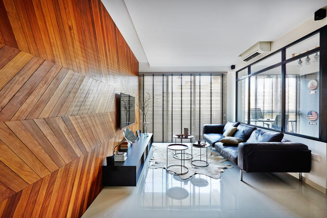Esparina Residences, Fuse Concept, Industrial, Living Room, Condo, Chevron Wooden Wall, Chevron, Wooden, Tv Console, Venetian Blinds, Tiles, Glass Partition, Glass Wall, Feature Wall, Couch, Furniture, Dining Table, Table, Indoors, Interior Design