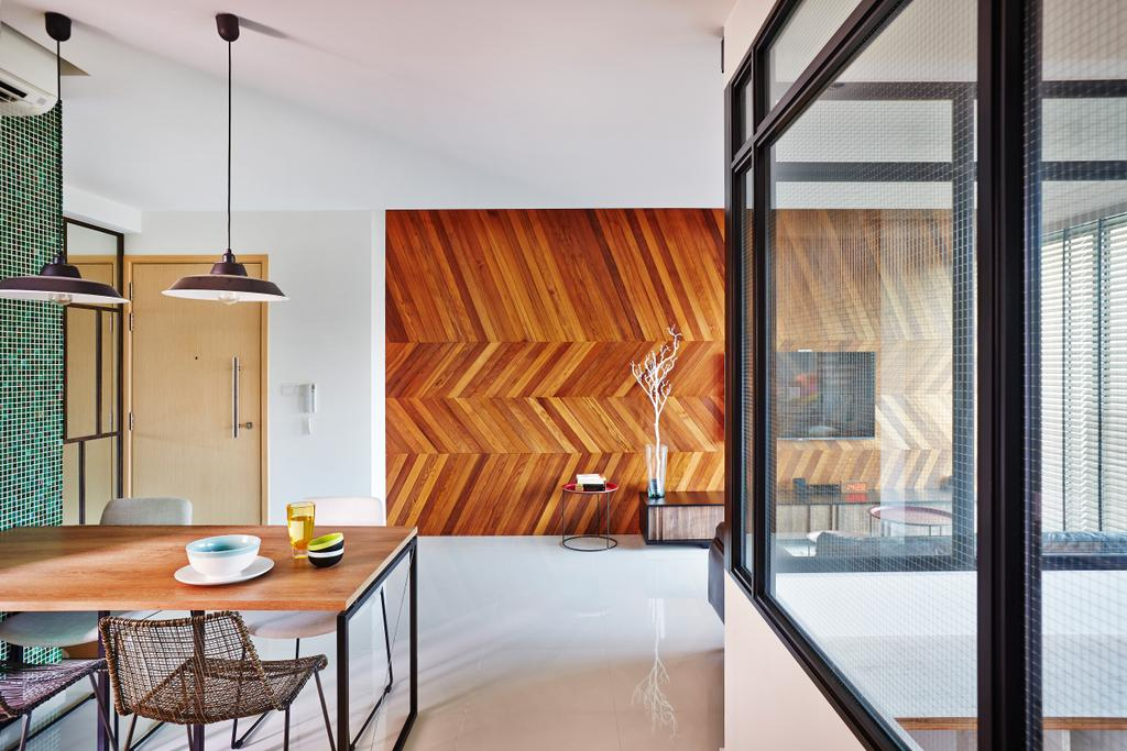 Industrial, Condo, Living Room, Esparina Residences, Interior Designer, Fuse Concept, Chevron Wall, Patterned Wall, Pattern, Tiles, Corridoor, Feature Wall, Dining Table, Furniture, Table