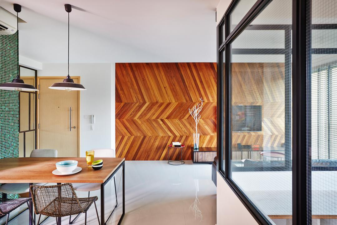 Esparina Residences, Fuse Concept, Industrial, Living Room, Condo, Chevron Wall, Patterned Wall, Pattern, Tiles, Corridoor, Feature Wall, Dining Table, Furniture, Table