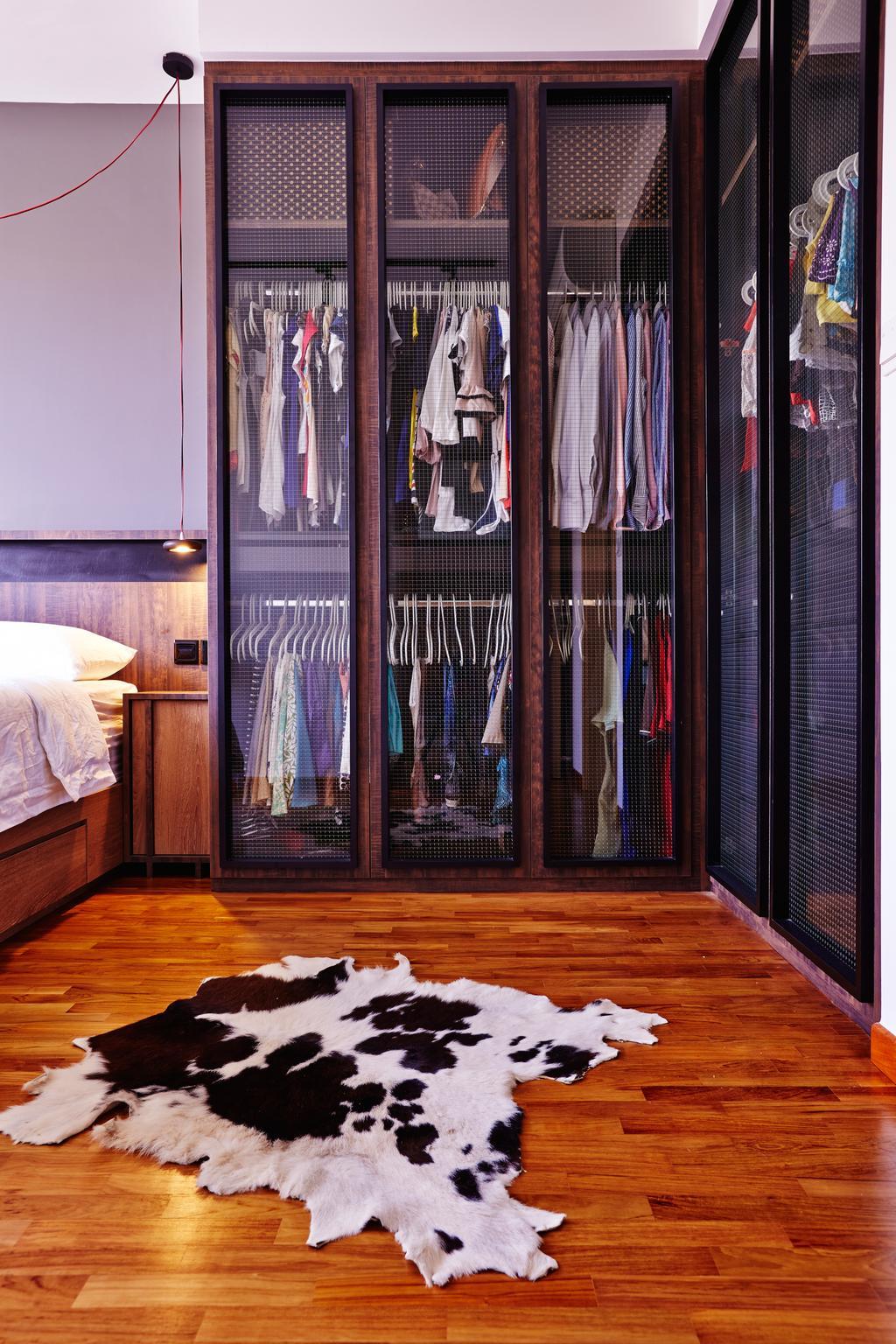 Industrial, Condo, Bedroom, Esparina Residences, Interior Designer, Fuse Concept, Cow Hide, Cowhide, Rug, Cabinet, Wardrobe, Cupboard, Wooden Flooring, Closet, Furniture