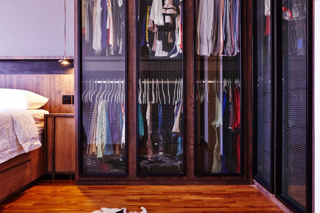 Esparina Residences, Fuse Concept, Industrial, Bedroom, Condo, Cow Hide, Cowhide, Rug, Cabinet, Wardrobe, Cupboard, Wooden Flooring, Closet, Furniture