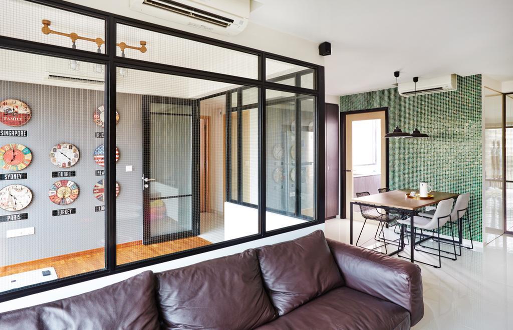 Industrial, Condo, Study, Esparina Residences, Interior Designer, Fuse Concept, Glass Wall, Glass Partition, Clock, Wall Clock