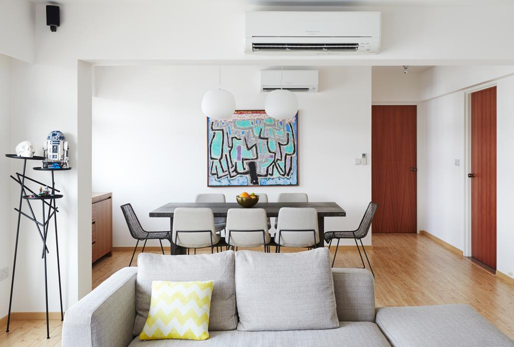Scandinavian, HDB, Dining Room, Punggol Walk, Interior Designer, Fuse Concept, Pendant Lamp, Sofa, Wall Art, Couch, Furniture, Building, Housing, Indoors