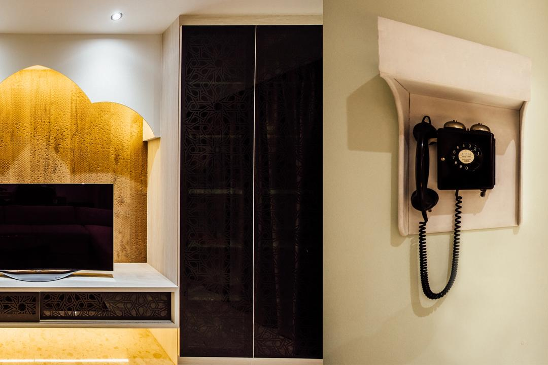 Pinevale, Fatema Design Studio, Modern, Dining Room, Condo, Dial Telephone, Electronics, Phone, Indoors, Interior Design, Fireplace, Hearth